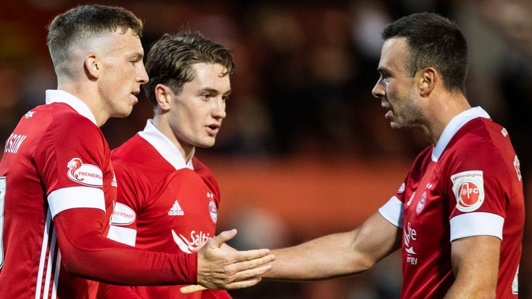 Aberdeen's Lewis Ferguson celebrates his opening goal against NSI Runavik