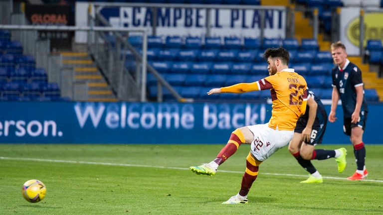 Motherwell's Liam Donnelly misses a penalty against Ross County