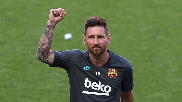 Barcelona's Argentinian forward Lionel Messi gestures during a training session at the Luz stadium in Lisbon on August 13, 2020 on the eve of the UEFA Champions League quarter-final football match between FC Barcelona and Bayern Munich