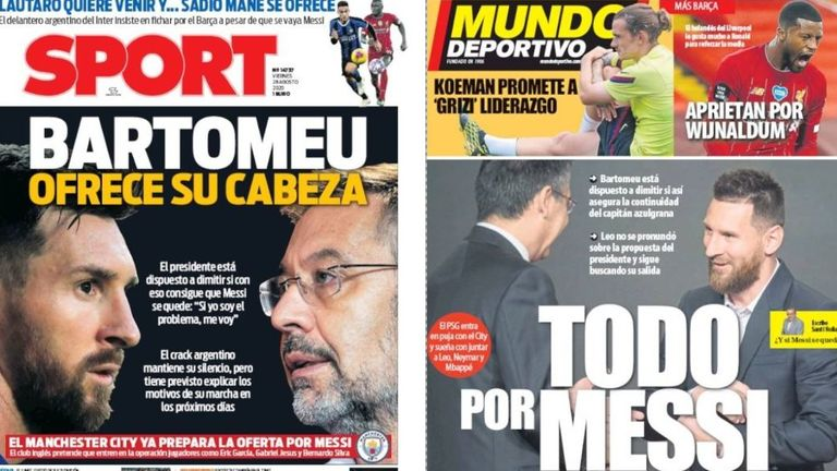 Spanish front pages on Friday August 28 claim the Barcelona president is willing to resign in order to keep Messi at the club