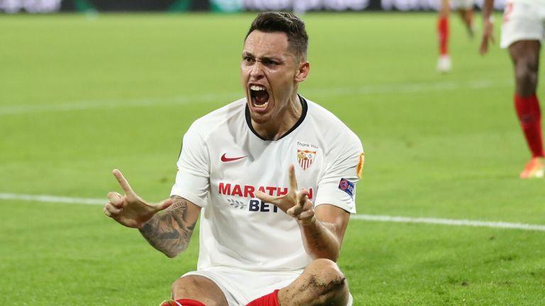 Lucas Ocampos celebrates scoring Sevilla's goal against Wolves