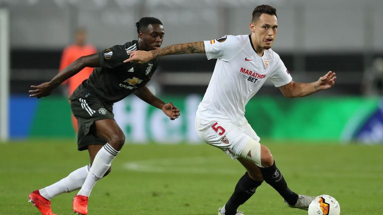 Lucas Ocampos in action against Manchester United