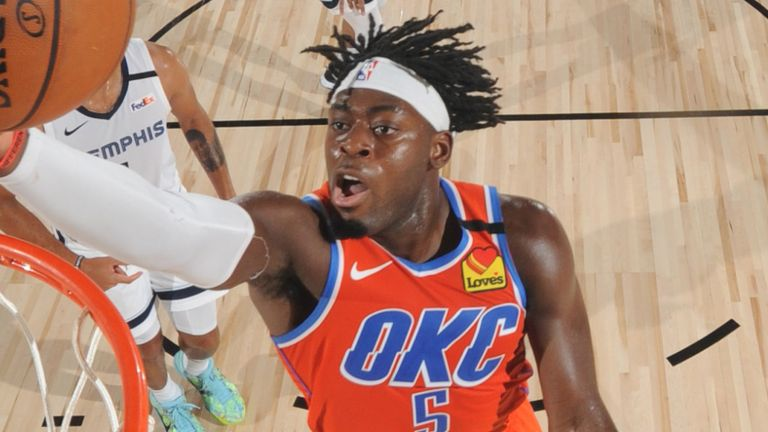 Luguentz Dort rises to the rim to score for the Thunder