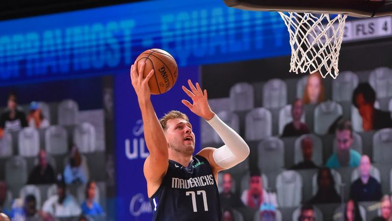 Luka Doncic of the Dallas Mavericks shoots the ball against the Houston Rockets