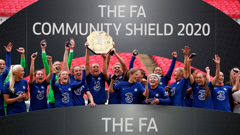 Magdalena Eriksson of Chelsea lifts the Community Shield Trophy following her team's victory in during the Women's FA Community Shield Final at Wembley