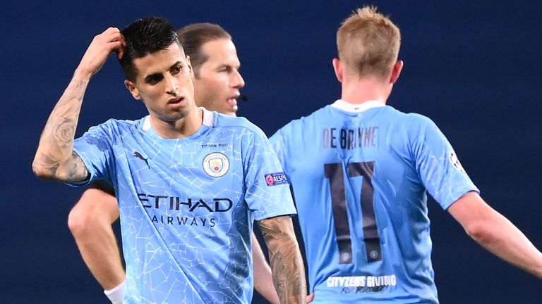 Joao Cancelo reacts during City's loss to Lyon