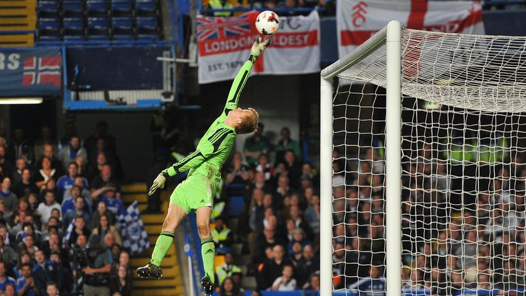 Marek Rodak makes a save during the FA Youth Cup Final Second Leg match between Chelsea U18 and Fulham U18 at Stamford Bridge on May 5, 2014 in London, England.