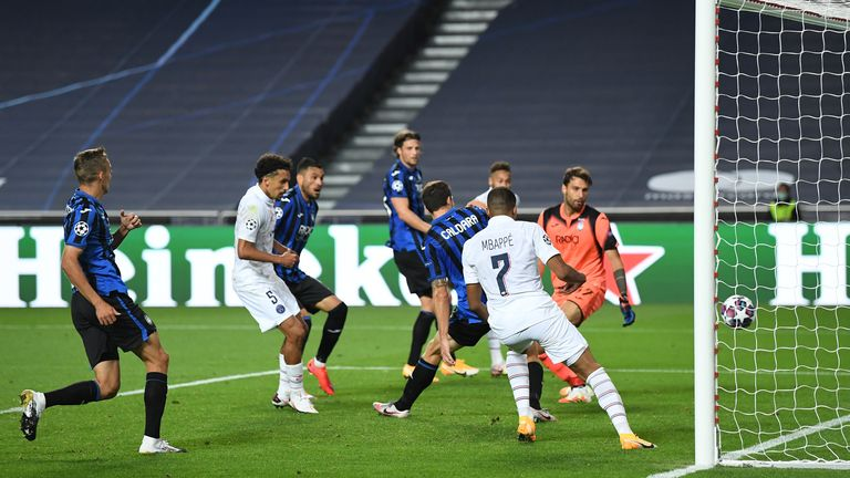 PSG defender Marquinhos steers home the equaliser in the 90th minute