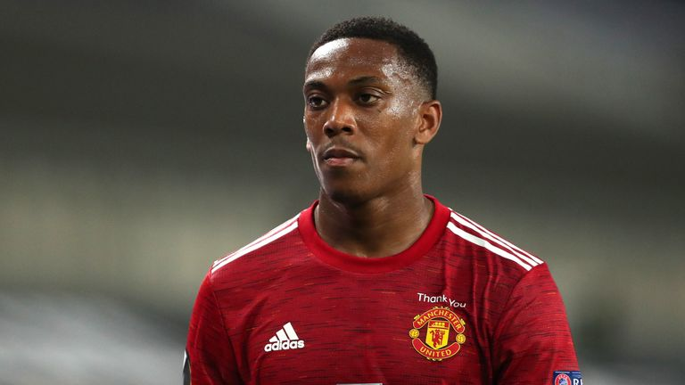 Anthony Martial of Manchester United during the UEFA Europa League Quarter Final between Manchester United and FC Kobenhavn at RheinEnergieStadion on August 10, 2020 in Cologne, Germany