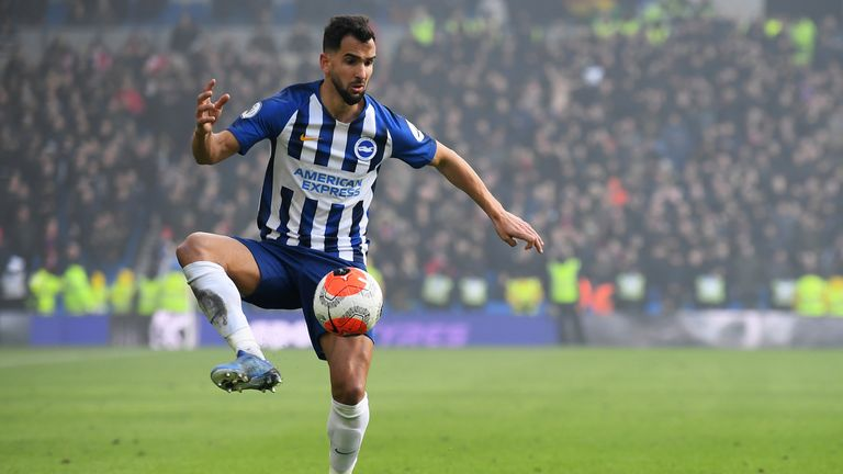 Martin Montoya of Brighton & Hove Albion in action during the Premier League match between Brighton & Hove Albion and Crystal Palace