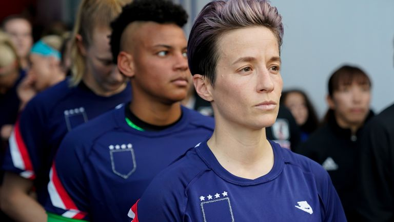 Megan Rapinoe and her team-mates walk out prior to kick-off during a SheBelieves Cup match against Japan