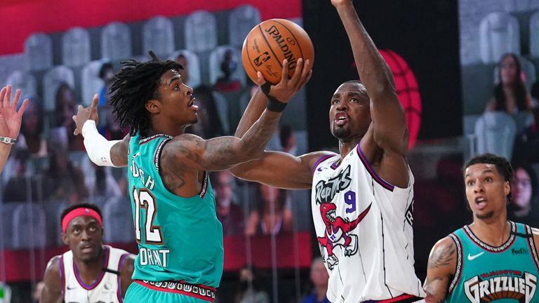 Ja Morant attacks the basket against the Toronto Raptors