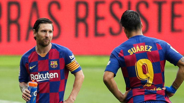 (L-R) Lionel Messi of FC Barcelona, Luis Suarez of FC Barcelona during the La Liga Santander match between Celta de Vigo v FC Barcelona at the Estadio de Balaidos on June 27, 2020 in Pontevedra Spain