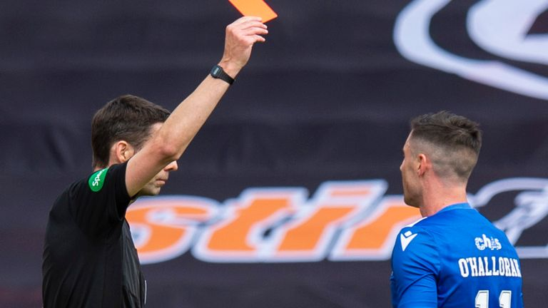 Michael O'Halloran was sent off for St Johnstone in the first half