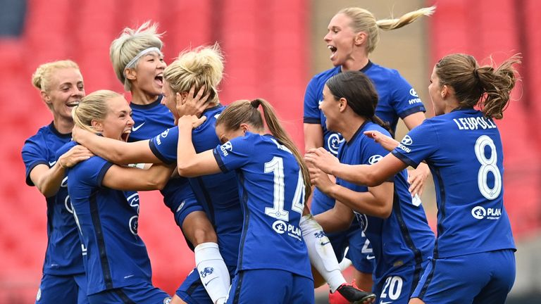 Millie Bright celebrates her goal for Chelsea Women against Manchester City Women in the Community Shield