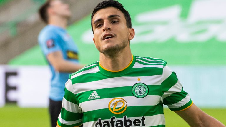 GLASGOW, SCOTLAND - AUGUST 18:  Mohamed Elyounoussi celebrates after he beats Beitir Olafsson to make it 1-0 during a UEFA Champions League Qualifier between Celtic v KR Reykjavik at Celtic Park,  on August 18, 2020, in Glasgow, Scotland. .(Alan Harvey / SNS Group)