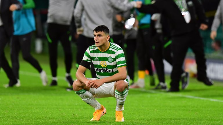 Mohamed Elyounoussi slumps to the ground at the final whistle at Celtic Park
