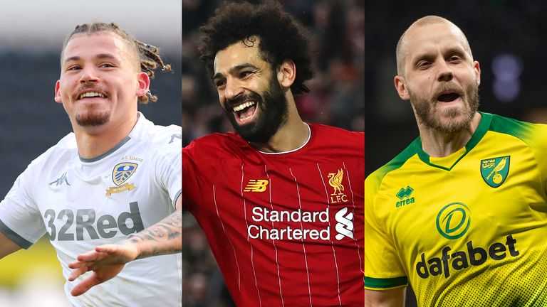 Mohamed Salah (C) and his Liverpool team-mates will be defending the Premier League title as reigning champions for the first time