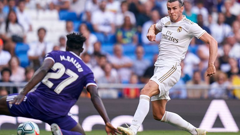 Real Valladolid's Mohammed Salisu attempts to block a shot from Real Madrid's Gareth Bale