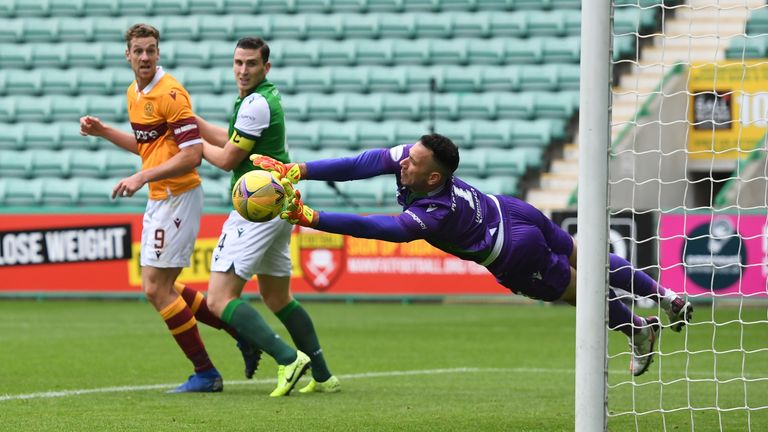 EDINBURGH, SCOTLAND - AUGUST 15: Hibernian's Ofir Marciano makes a great save from Callum Lang  during the Scottish Premiership match between Hibernian and Motherwell at Easter Road on August 15, 2020, in Edinburgh, Scotland.  .(Ross MacDonald / SNS Group)