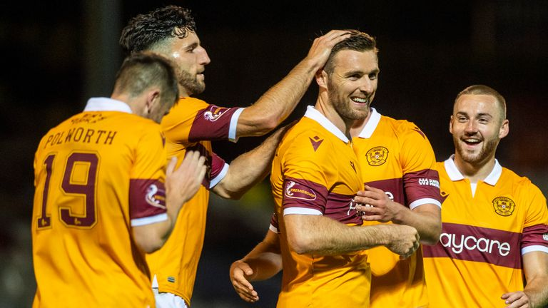 Stephen O'Donnell celebrates his goal with team-mates on Thursday