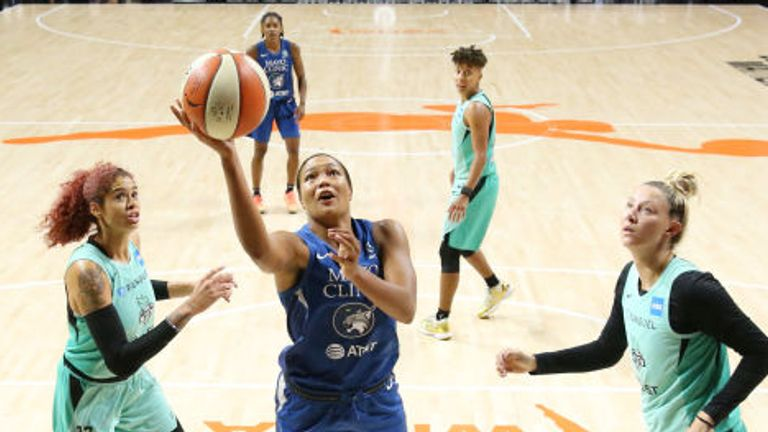 Napheesa Collier of the Minnesota Lynx shoots the ball against the New York Liberty