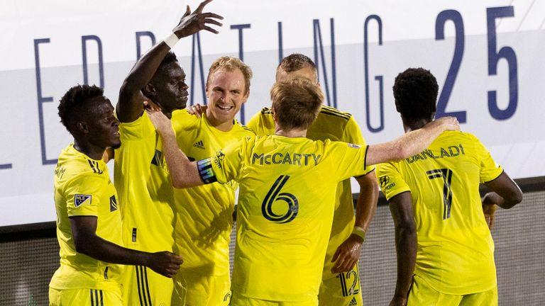 Nashville celebrate David Accam's late goal. Pic: USA Today/MLSsoccer
