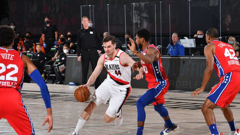 Mario Hezonja #44 of the Portland Trail Blazers handles the ball against the Philadelphia 76ers on August 9, 2020 at Visa Athletic Center at ESPN Wide World of Sports in Orlando, Florida.