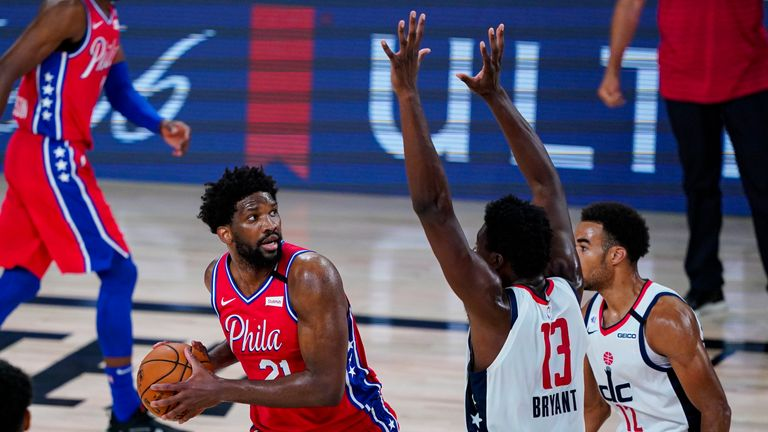 Joel Embiid top-scored for Philadelphia with 30 points as the 76ers beat the Washington Wizards 107-98 in the NBA.