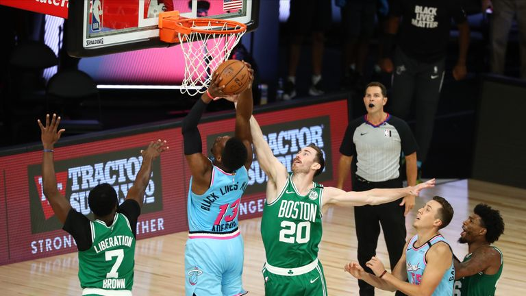 21 points apiece from Bam Adebayo and Duncan Robinson helped the Miami Heat emerge 112-106 winners over the Boston Celtics.