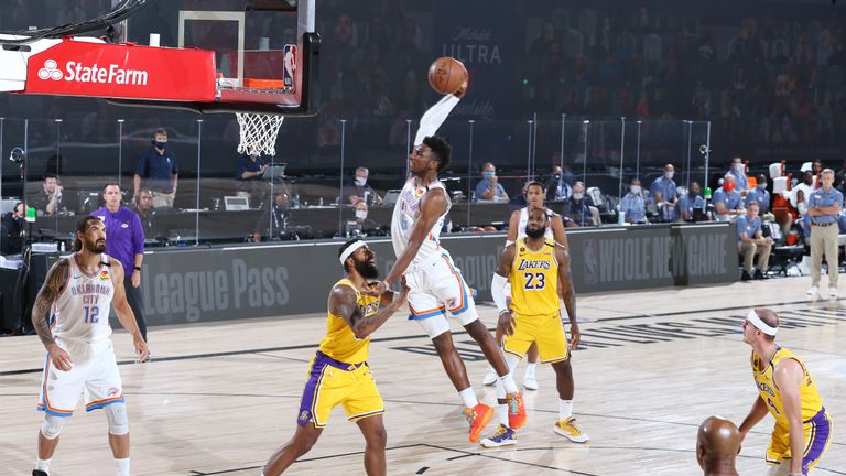 Oklahoma's Chris Paul found Hamidou Diallo for a huge slam dunk in the third quarter of their NBA game against the Los Angeles Lakers.