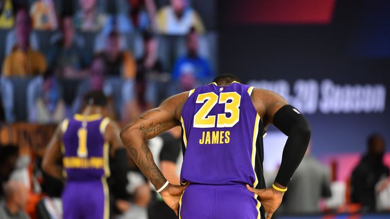 LeBron James cut Indiana's lead over the Los Angeles Lakers to just three late in the fourth quarter.