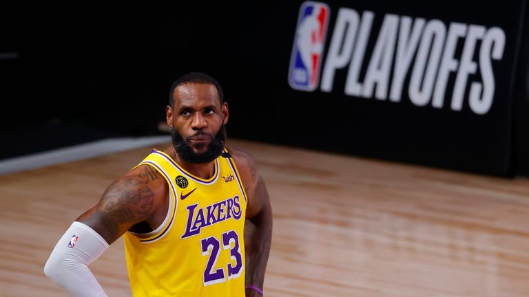 LeBron James overpowered the Portland defence in the first quarter of Game 5 to score for the Los Angeles Lakers.
