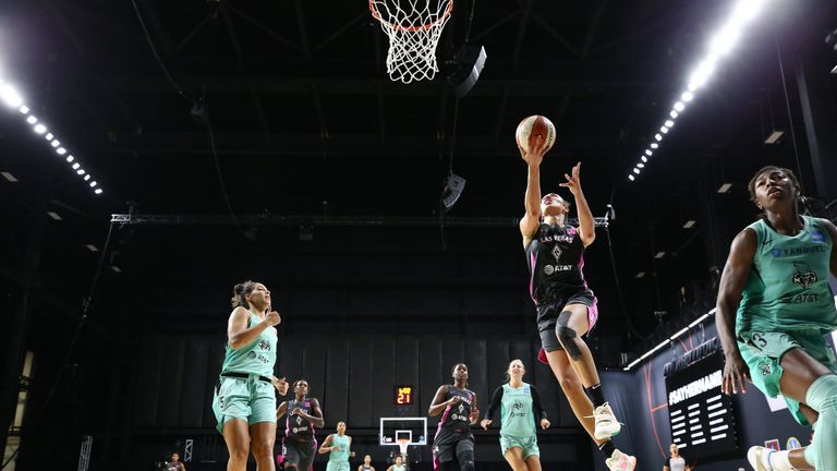 Highlights of the WNBA regular season game between the New York Liberty and the Las Vegas Aces from Florida.