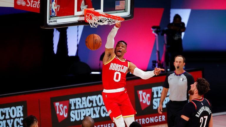 Houston's Russell Westbrook made an incredible dunk shot in the fourth quarter of their NBA clash against Portland.