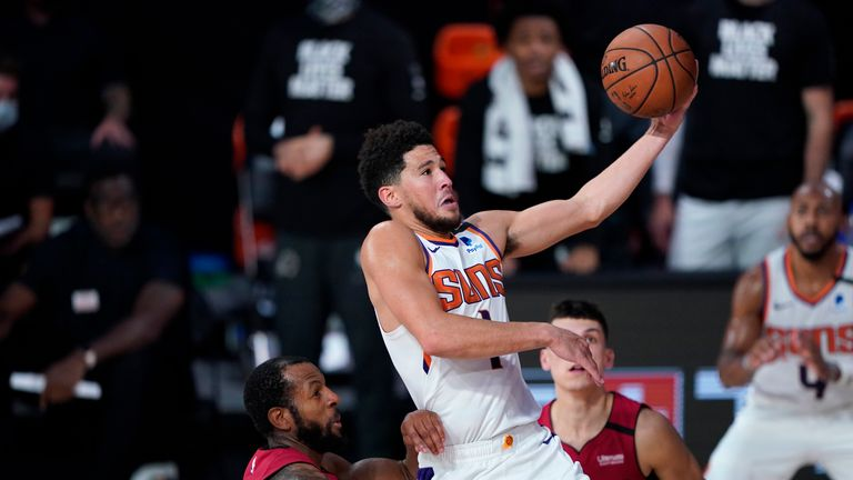 Devin Booker starred for Phoenix with 35 points as the Suns beat the Oklahoma City Thunder 128-101 in the NBA.