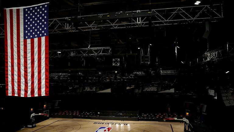 An empty arena is seen as all NBA playoff games were postponed today during the 2020 NBA Playoffs at AdventHealth Arena at ESPN Wide World Of Sports Complex on August 27, 2020 in Lake Buena Vista, Florida. NBA players have reportedly decided to resume the season after their walkout of playoff games on Wednesday to protest the shooting of Jacob Blake in Kenosha, Wisconsin.