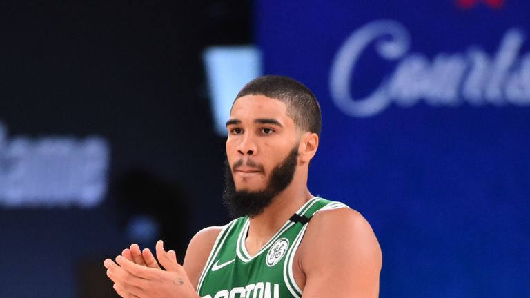 Jayson Tatum #0 of the Boston Celtics reacts during a game against the Portland Trail Blazers on August 2, 2020 at The Arena at ESPN Wide World Of Sports Complex in Orlando, Florida.