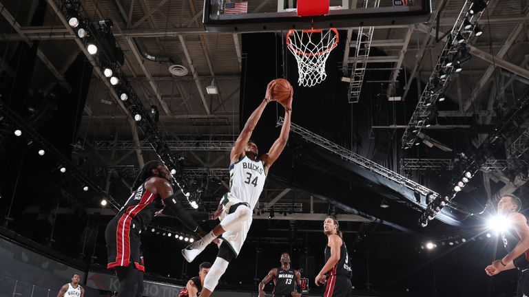 Giannis Antetokounmpo #34 of the Milwaukee Bucks drives to the basket against the Miami Heat on August 6, 2020 at The Arena at ESPN Wide World of Sports in Orlando, Florida.