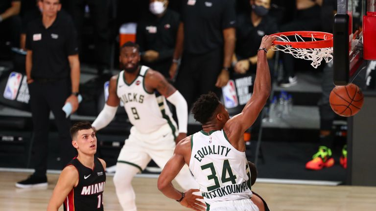 Giannis Antetokounmpo #34 of the Milwaukee Bucks dunks against the Miami Heat during the second half at The Arena at ESPN Wide World Of Sports Complex on August 6, 2020 in Lake Buena Vista, Florida.