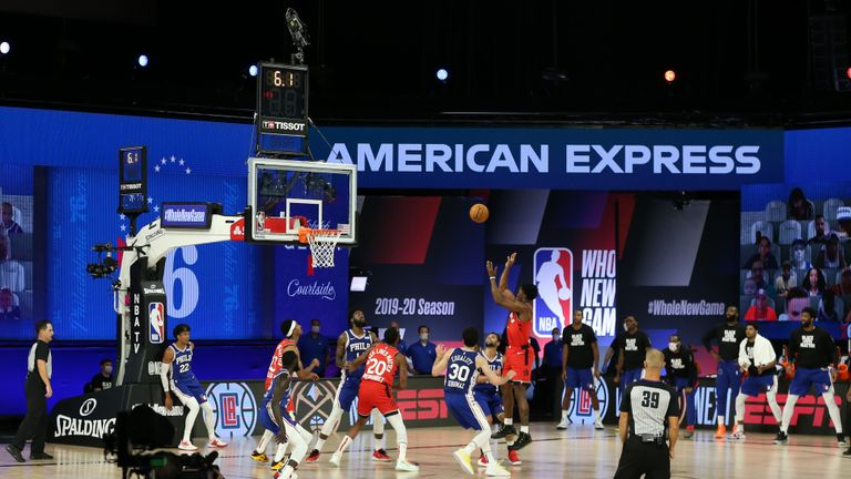 Stanley Johnson #5 of the Toronto Raptors shoots the go ahead basket to win the game against the Philadelphia 76ers on August 12, 2020 at The Field House in Orlando, Florida.