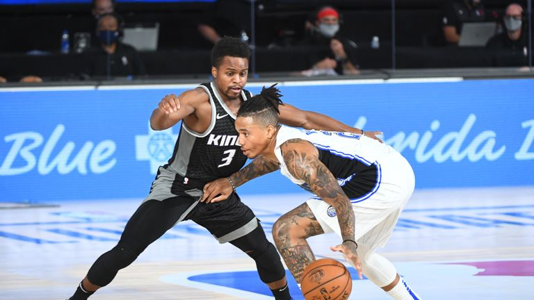 Markelle Fultz #20 of the Orlando Magic handles the ball against the Sacramento Kings August 2, 2020 at HP Field House at ESPN Wide World of Sports in Orlando, Florida.