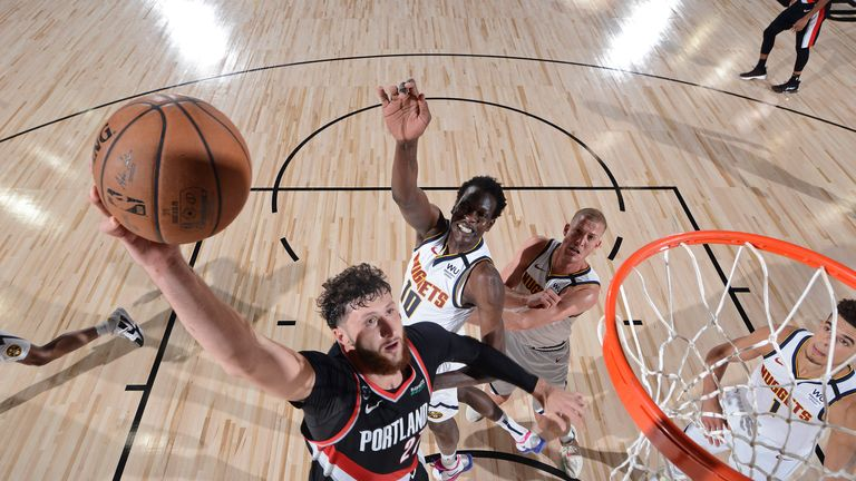 Jusuf Nurkic #27 of the Portland Trail Blazers shoots the ball against the Denver Nuggets on August 6, 2020 in Orlando, Florida at Visa Athletic Center at ESPN Wide World of Sports.