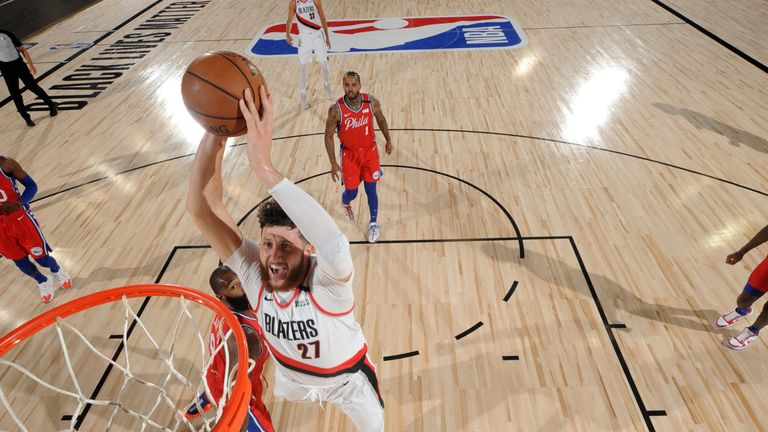 Jusuf Nurkic #27 of the Portland Trail Blazers dunks the ball against the Philadelphia 76ers on August 9, 2020 at Visa Athletic Center at ESPN Wide World of Sports in Orlando, Florida