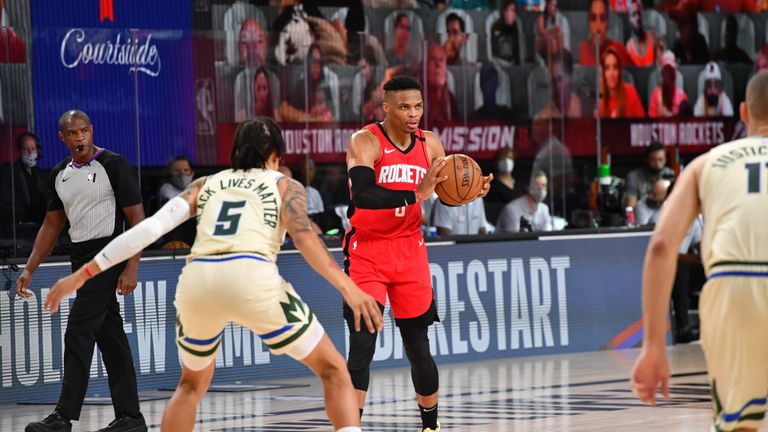 Russell Westbrook #0 of the Houston Rockets handles the ball against the Milwaukee Bucks on August 2, 2020 at The Arena at ESPN Wide World Of Sports Complex in Orlando, Florida.