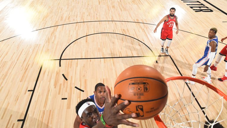 Pascal Siakam #43 of the Toronto Raptors shoots the ball against the Philadelphia 76ers on August 12, 2020 at The Field House at ESPN Wide World of Sports in Orlando, Florida.