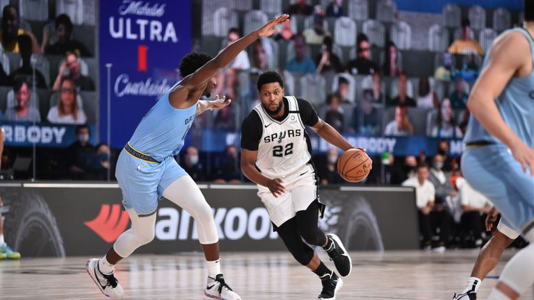 Rudy Gay #22 of the San Antonio Spurs handles the ball during a game against the Memphis Grizzlies on August 2, 2020 at Visa Athletic Center at ESPN Wide World Of Sports Complex in Orlando, Florida.