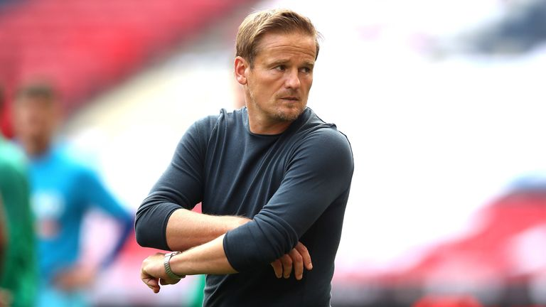 Notts County manager Neal Ardley looks dejected at the final whistle as they lose 3-1 to Harrogate Town in National League play-off final