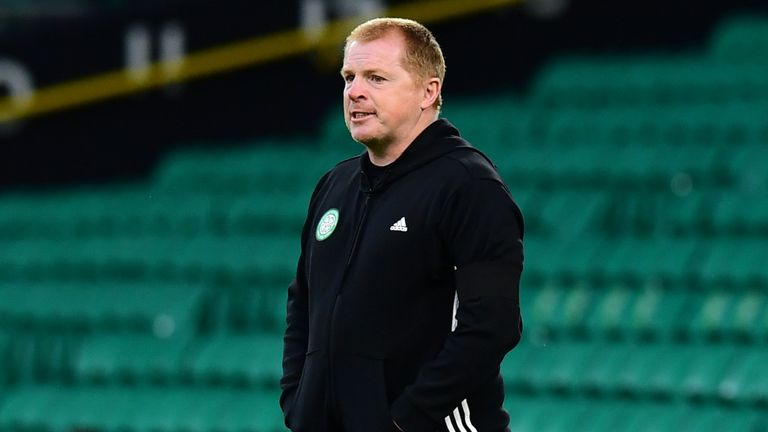 Celtic boss Neil Lennon watches on in the Champions League qualifier