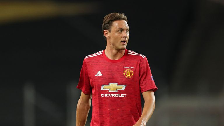 Nemanja Matic of Manchester United during the UEFA Europa League Quarter Final between Manchester United and FC Kobenhavn at RheinEnergieStadion on August 10, 2020 in Cologne, Germany.